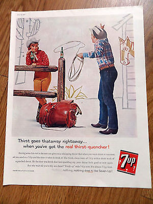 1960 7up Soda Bottle Ad Roping Cowboy and Cowgirl