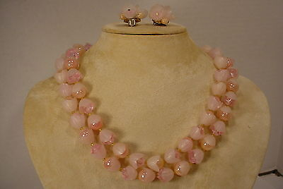 Vintage Plastic Pink Floral Earrings and  Necklace