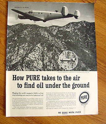 1959 Pure Oil Ad  Airborne Magnetometer Can Explore Large Areas Fast