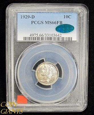 1929-D Mercury Dime PCGS CAC MS 66 FB Full Bands High Grade Coin 10c TEN CENTSBU