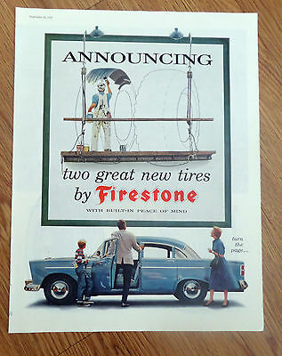 1956 Firestone Tire Ad Chevrolet Buick Pontiac Plymouth Chrysler Ford Mercury ?