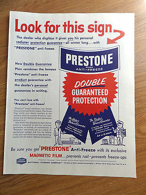 1958 Prestone Anti-Freeze Ad Look for this Sign