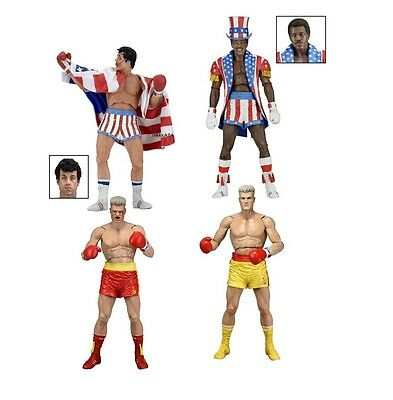 NECA ROCKY 40TH ANNIVERSARY SERIES 2 SET OF 4 x ACTION FIGURES CREED, IVAN DRAGO
