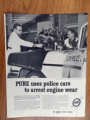 1960 Pure Oil Ad  Pure Inspects Elgin Illinois Police Car Engines