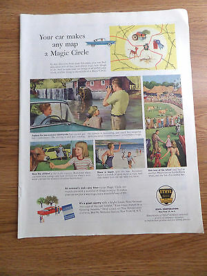 1958 Ethyl Gasoline Ad Map County Fair Old Water Mill