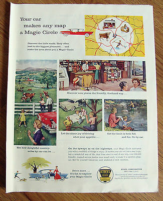 1958 Ethyl Gasoline Ad Map Old General Store Fishing