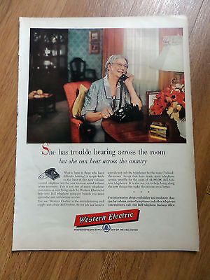 1955 Western Electric Bell Telephone Ad New Volume Control on Phone