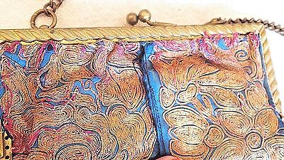 Antique Ornate BRASS rope frame textile remnant metallic EMBROIDERY purse bag