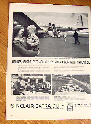1956 Sinclair Oil Ad American Airlines Stewardess