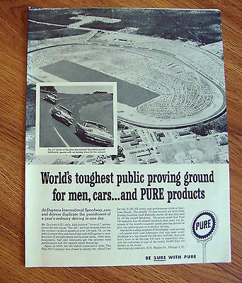 1959 Pure Oil Ad Aireo View of the Daytona International Speedway