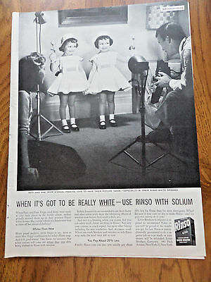 1953 Rinso Laundry Soap Ad Patti & Pam Tripp Eternal