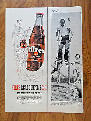 1953 Hires Root Beer Ad   Oldtime Guitar Player Couple in Canoe