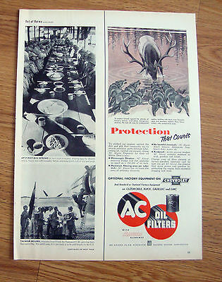 1953 AC  Oil Filters Ad Bull Elk Attached by Wolves Theme