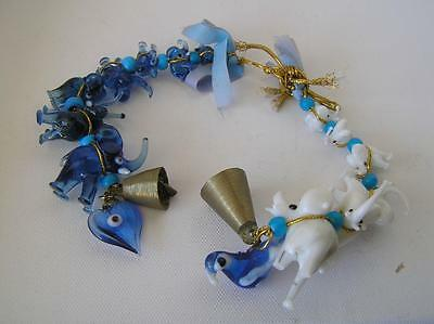 11 Elephant Blue and White Glass Micro mini Hand Blown Glass Beads Strand