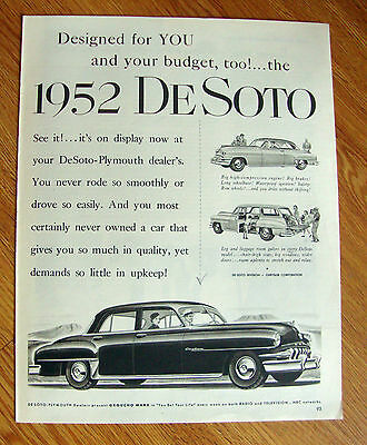 1952 DeSoto Ad Designed for You & Your Budget