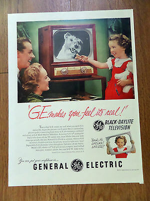 1951 TV Television GE General Electric Ad  Little Girl & Schnauzer Terrier Dog
