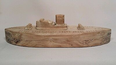 Antique Folk Art Steam Ship Cribbage Board Wood Crib Board Game