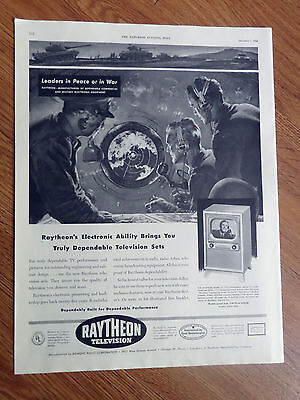 1950 Raytheon Television Ad  Leaders in Peace or in War