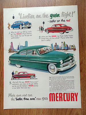 1950 Mercury Coupe Ad  Livelier on the Green Light Safer on the Red