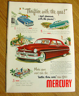 1950 Mercury Ad Thriftier with the Gas & Generous with the Power