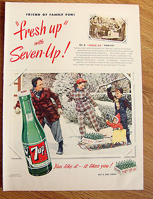 1950 7up Soda Bottle Ad The Fresh Up Family Drink  Sledding