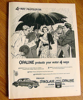 1949 Sinclair Opaline Motor Oil Ad  4 Way Protection