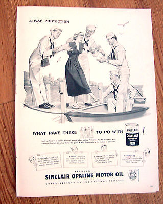 1949 Sinclair Opaline Motor Oil Ad  4 Way Protection Sailors & a Lady