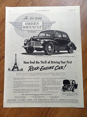 1949 New Green Renault of France Ad  Rear-Engine Car