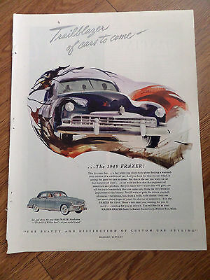 1949 Kaiser Frazer Manhattan Ad Trailblazer of Cars to Come