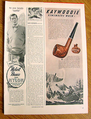 1948 Kaywoodie Pipes Ad Whale Whaling Fishermen Theme