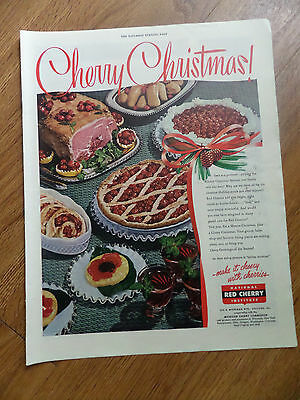 1948 Michigan Red Cherry Commission Ad Cherry Christmas Theme