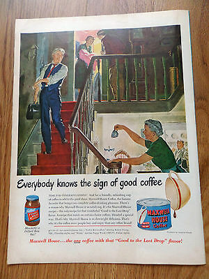 1950 Maxwell House Coffee Ad Family Doctor House Call Delivering Baby