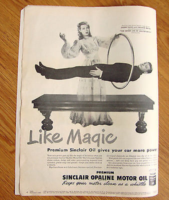 1947 Sinclair Motor Oil Ad Hollywood Stars Danny Kaye Virginia Mayo