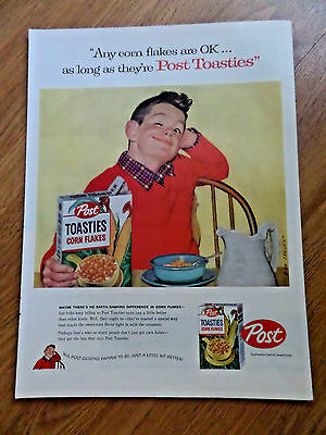 1957 Post Cereal Toasties Corn Flakes Ad Sargent Artwork