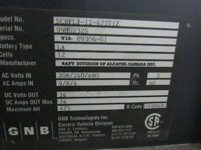 GBN Mdl. SCRFLX-12-475T1Z Battery Charger
