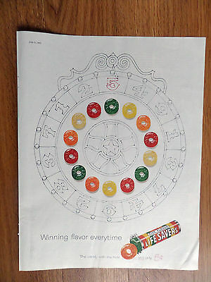 1960 Life Savers Candy Ad Spinn the Wheel Winning Flavor everytime