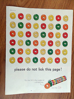 1960 Life Savers Candy Ad  Please do not lick this page