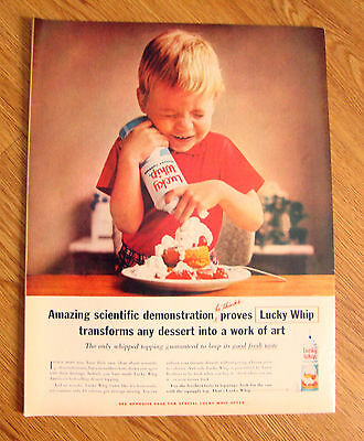 1961 Ad  Lucky Whip Topping Little Boy