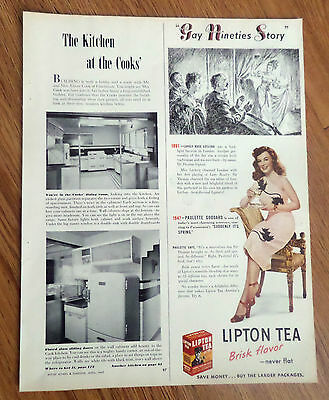 1947 Lipton Tea Ad  Hollywood Movie Star Paulette Goddard