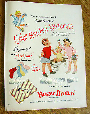 1950 Buster Brown Color Matched Knitwear Ad Youngsters