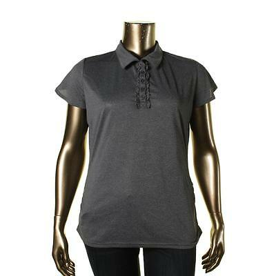 Soybu 1395 Womens Renee Gray Ruched Ruffled Polo Shirts & Tops Athletic XXL BHFO