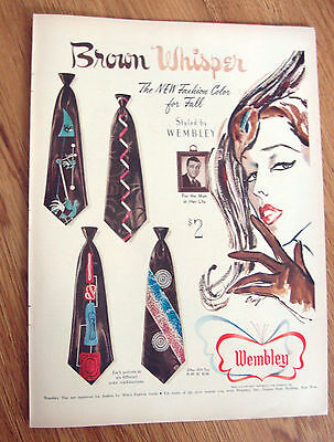 1950 Wembley Ties Ad  Brown Whisper The New Fashion Color for Fall