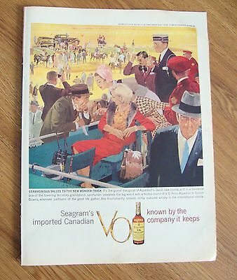 1959 Seagram's VO Whiskey Ad New Wonder Track Aqueduct Horse Racing Theme