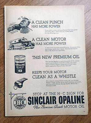1946 Sinclair Opaline Motor Oil Ad  Stop at the H-C Sign