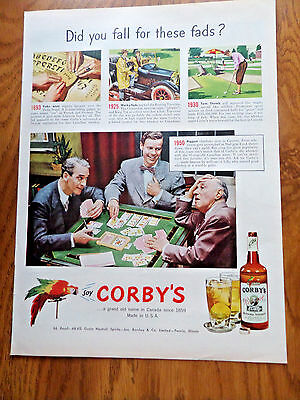1950 Corby's Whiskey Ad Did you Fall for these Fads? Canasta