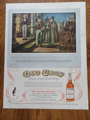 1956 Old Crow Whiskey Ad General Winfield Scott & Clay at Boulanger's Wash. DC
