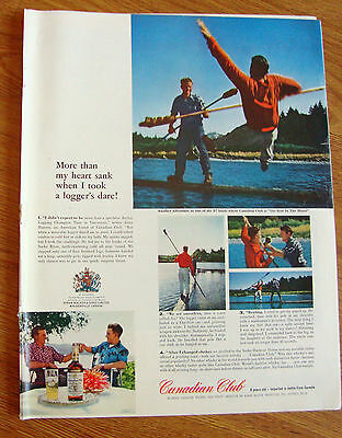 1962 Canadian Club Whiskey Ad Logging Champion Time Vancouver Jousting