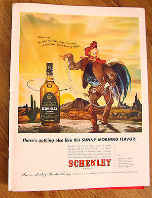 1947 Schenley Whiskey Ad Cowboy Rooster 1947 Camel Cigarette Ad Rose Gould