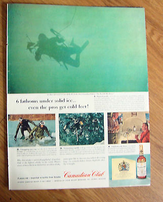 1960 Canadian Club Whiskey Ad Spear-Fishing Under Ice Ontario Lakes