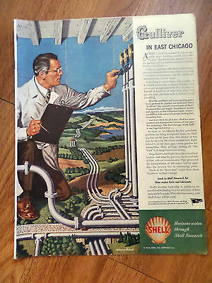 1945 Shell Oil Gas Research Ad Gulliver Travels ? in East Chicago